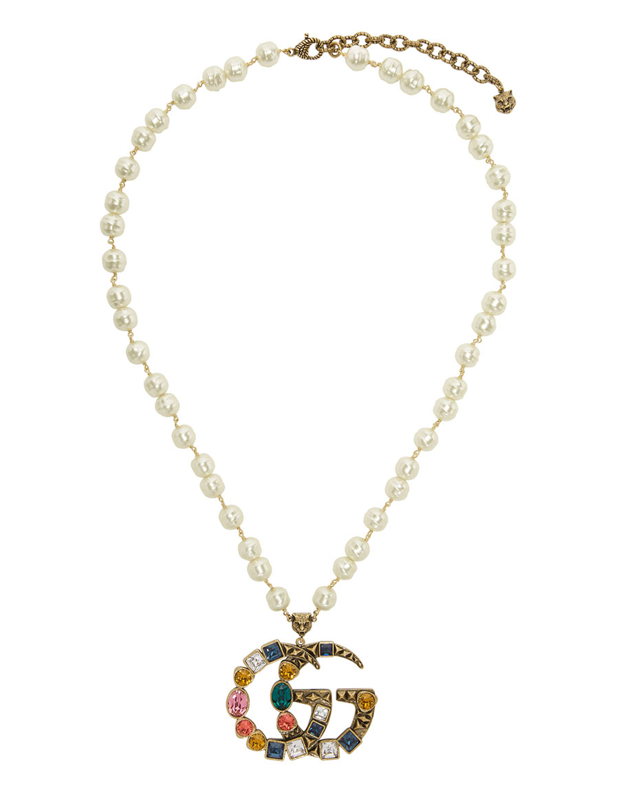 GUCCI Off White Crystal Pearl Pendant Necklace