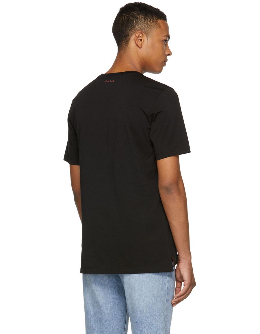 PAUL SMITH Black Rose Panel Screen T Shirt