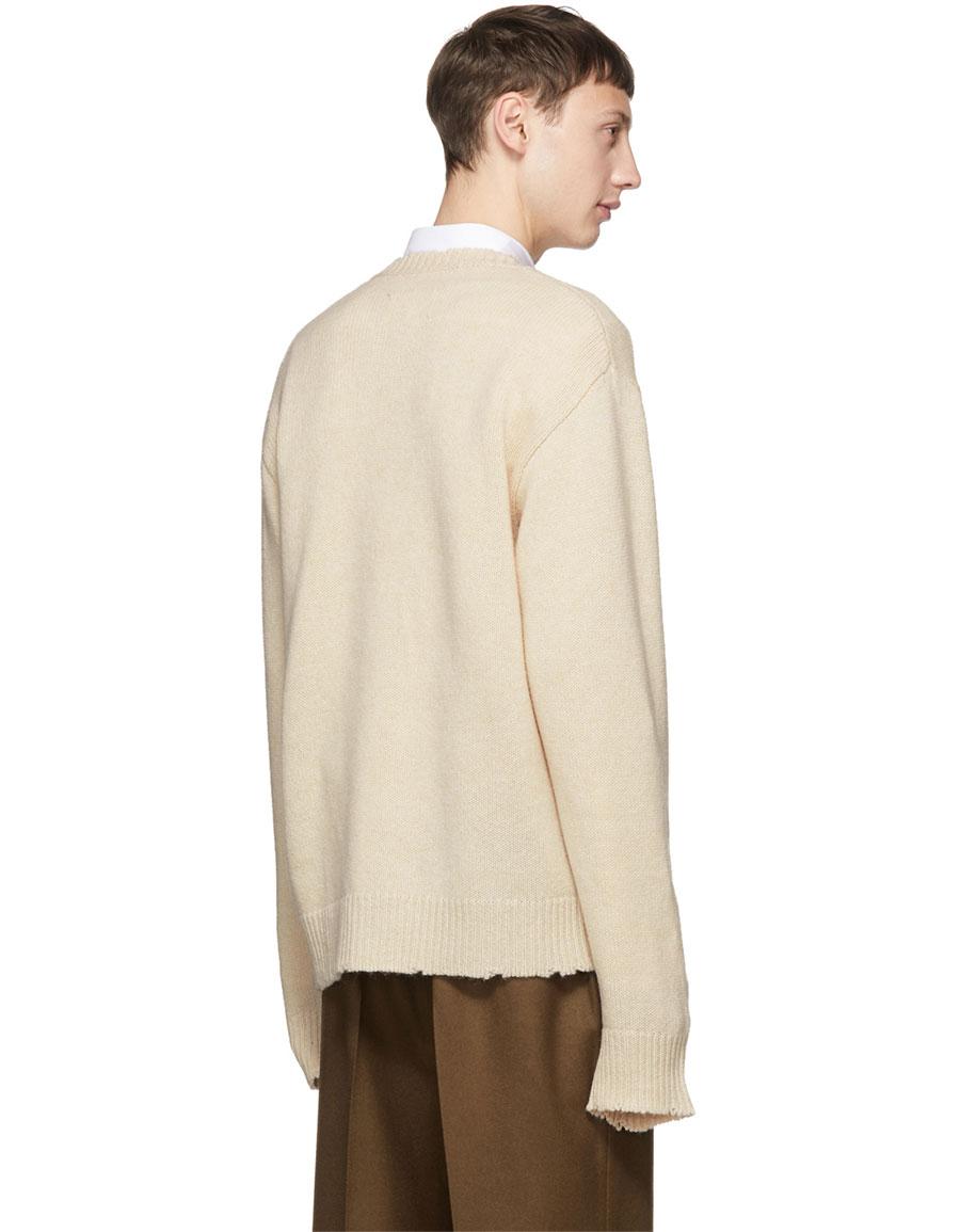 MAISON MARGIELA Off White Wool Distressed V Neck Sweater