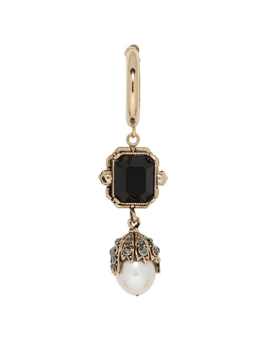 ALEXANDER MCQUEEN Gold Square Pendant Pearl Earring