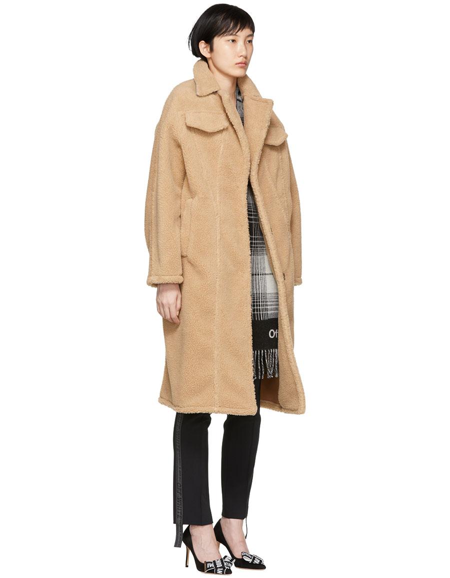OFF WHITE Brown Faux Fur Bear Coat