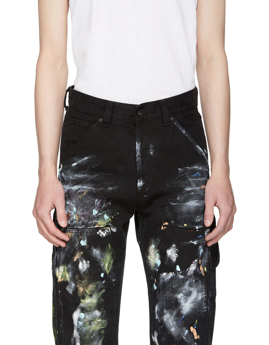OFF WHITE Black Denim Vintage Carpenter Trousers