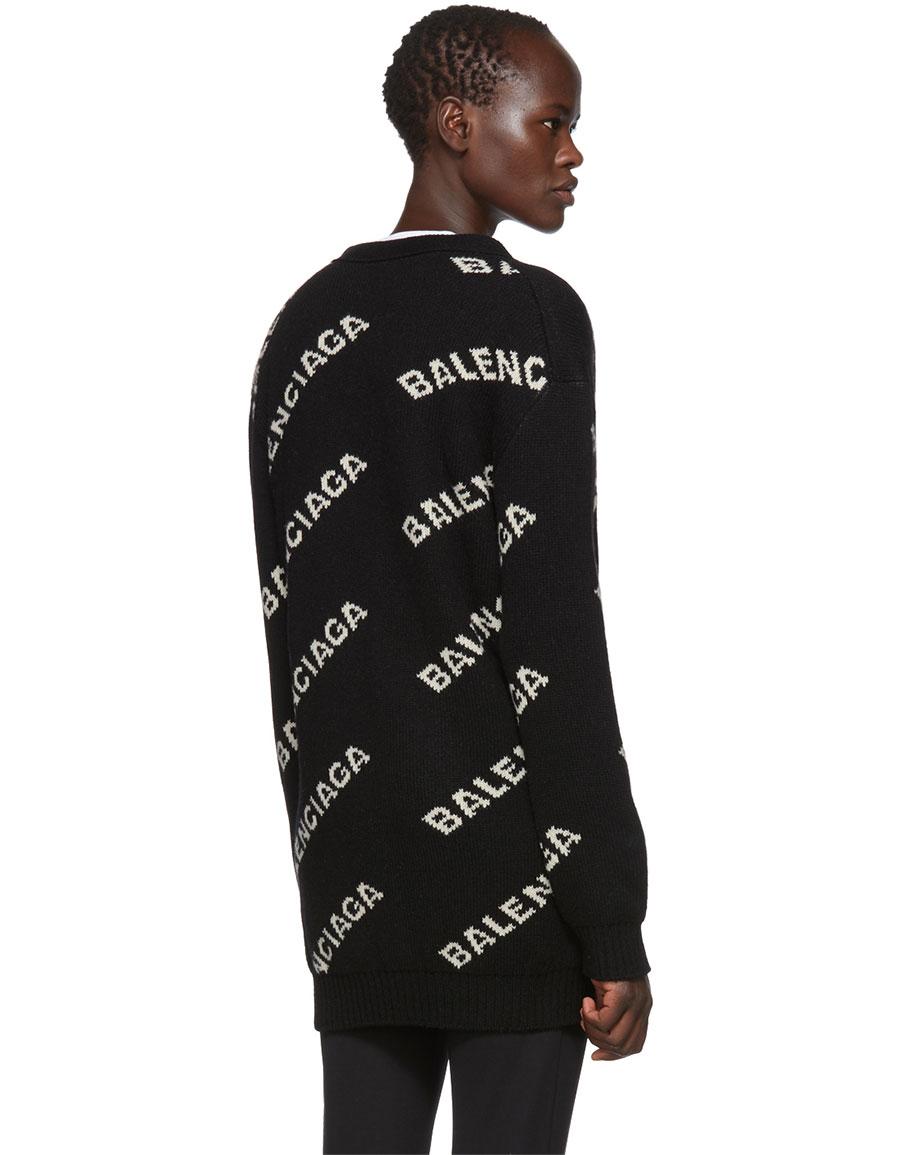 BALENCIAGA Black Jacquard Logo Cardigan