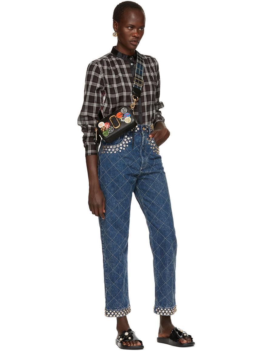 MARC JACOBS Black Plaid Button Up Shirt