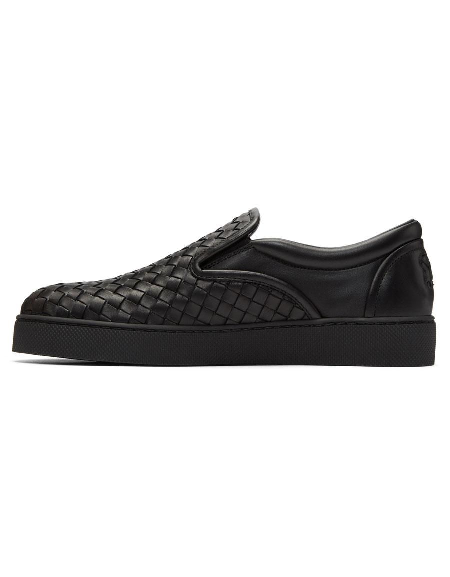 BOTTEG VENETA Black Classic Intrecciato Slip On Sneakers