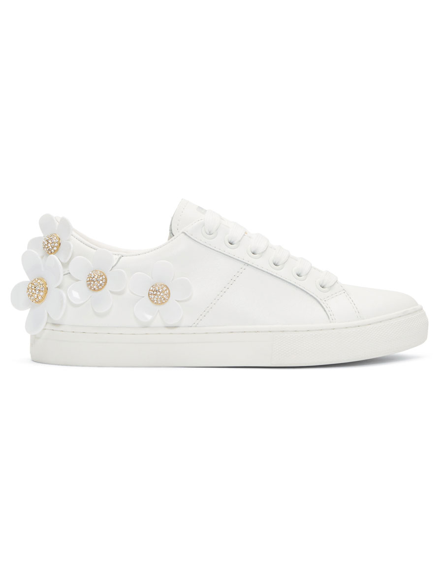 MARC JACOBS White Leather Daisy Sneakers