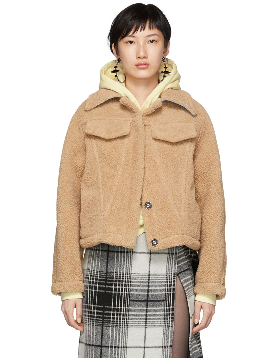 OFF WHITE Brown Faux Fur Bear Track Jacket