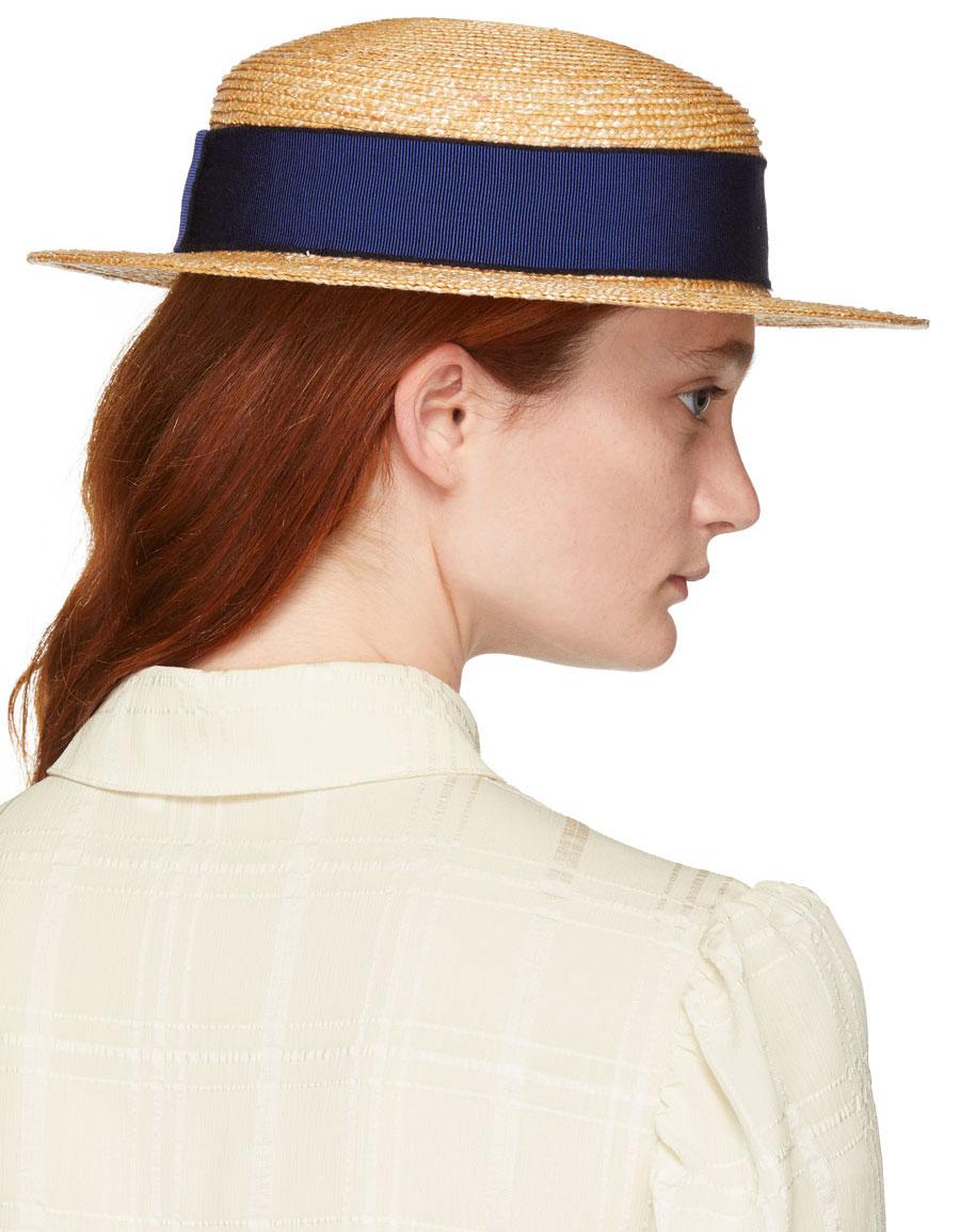 MAISON MICHEL Tan Straw Rod Hat