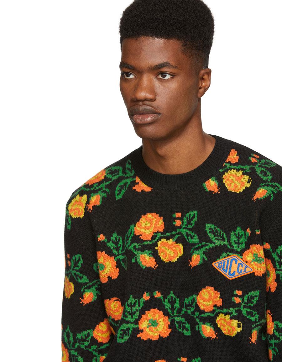 GUCCI Black Jacquard Floral Sweater