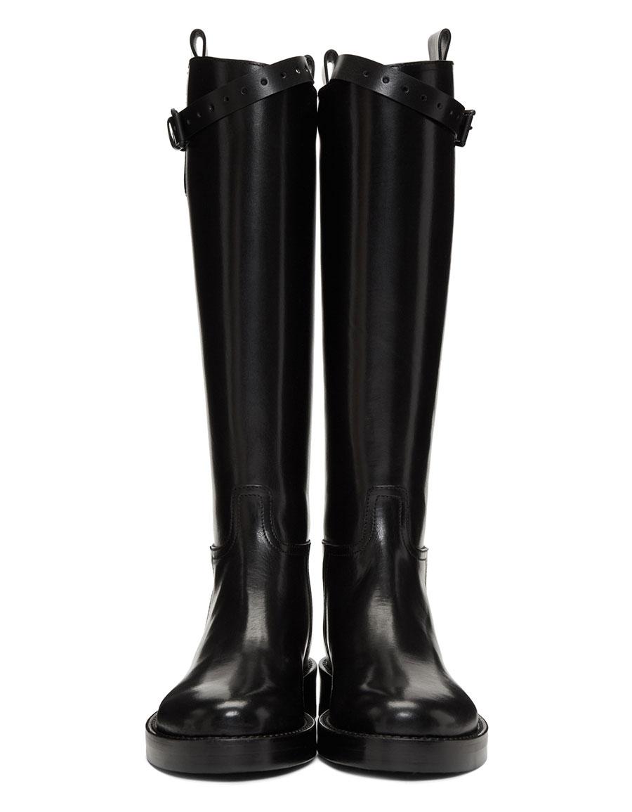 ANN DEMEULEMEESTER Black Tall Buckle Boots