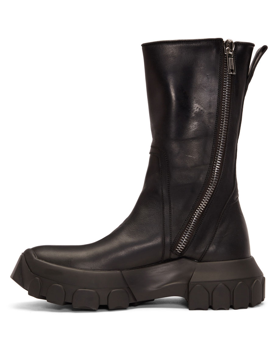RICK OWENS Black Tractor Boots