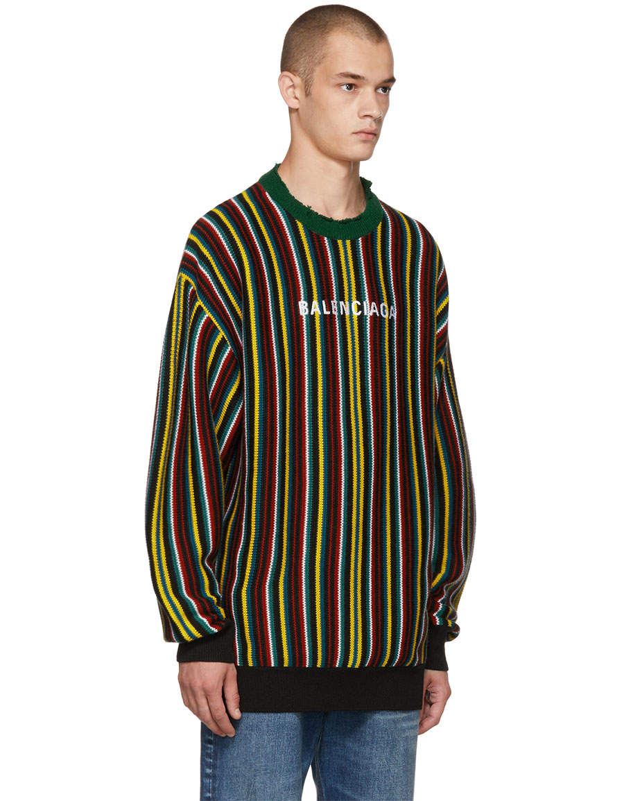 BALENCIAGA Multicolor Striped Logo Sweater