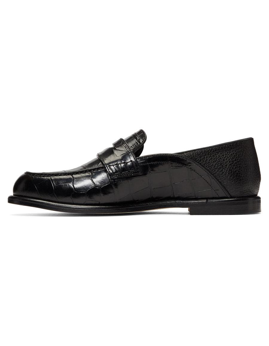 LOEWE Black Croc Convertible Loafers