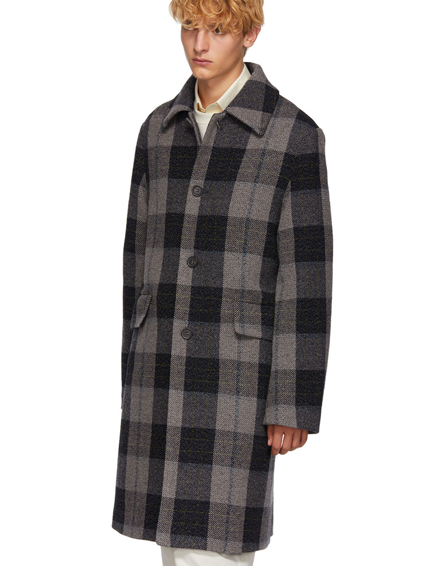 ACNE STUDIOS Grey Wool Check Coat