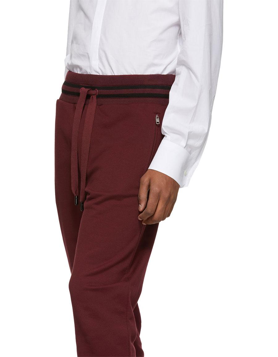 DOLCE & GABBANA Burgundy Striped Cuff Lounge Pants