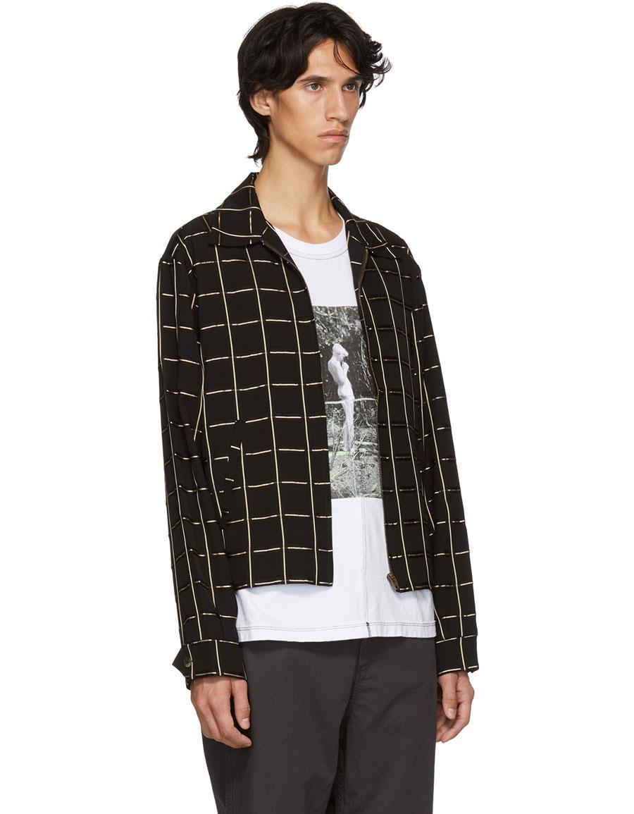 HOPE Black & Gold Check Fifty Shirt Jacket
