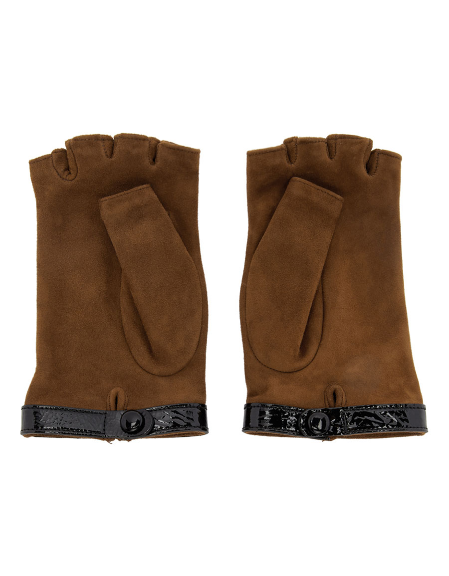 GUCCI Brown Logo Fingerless Gloves