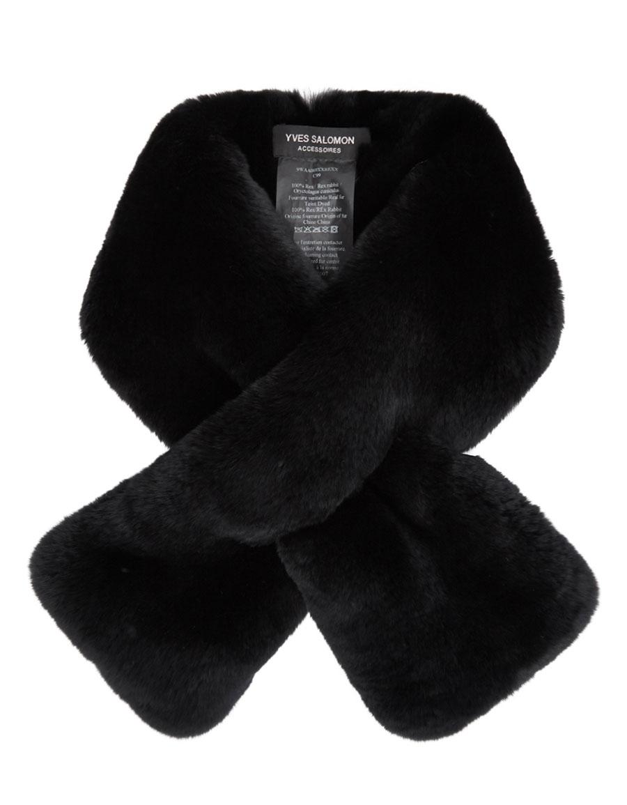 YVES SALOMON Black Fur Scarf