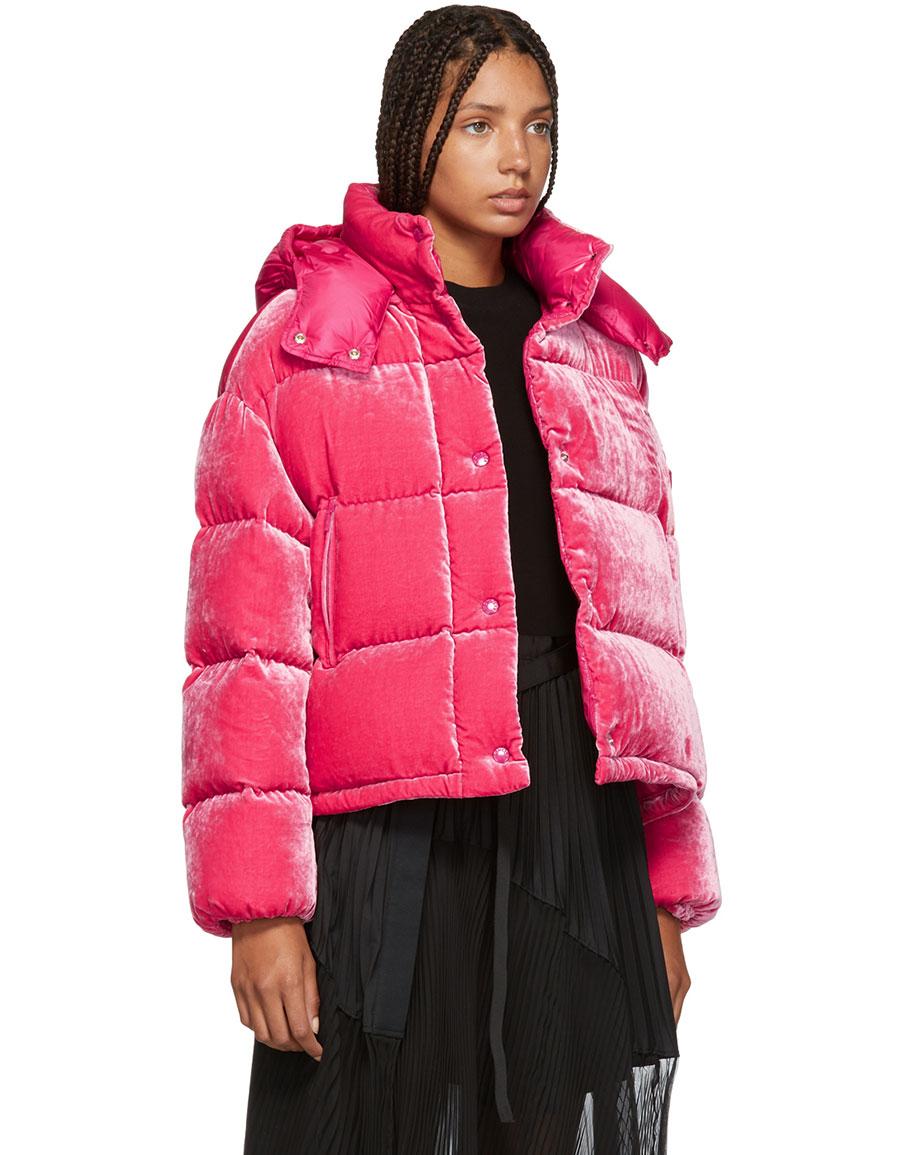MONCLER Pink Velvet Caille Down Jacket