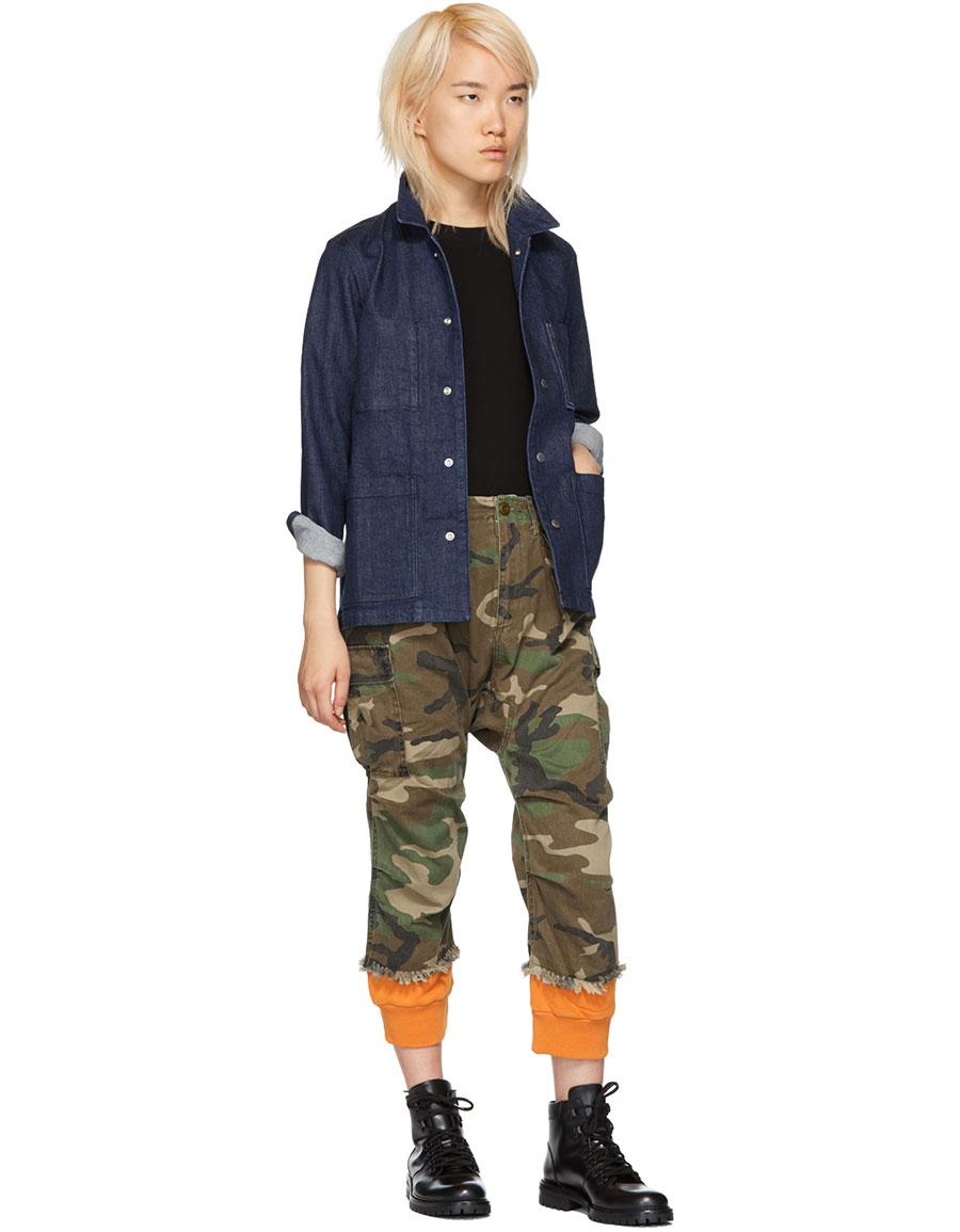 R13 Green & Orange Camo Harem Cuffs Cargo Trousers