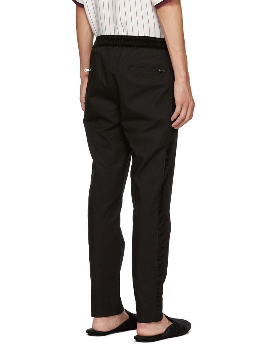 DOLCE & GABBANA Black Velvet Trim Trousers