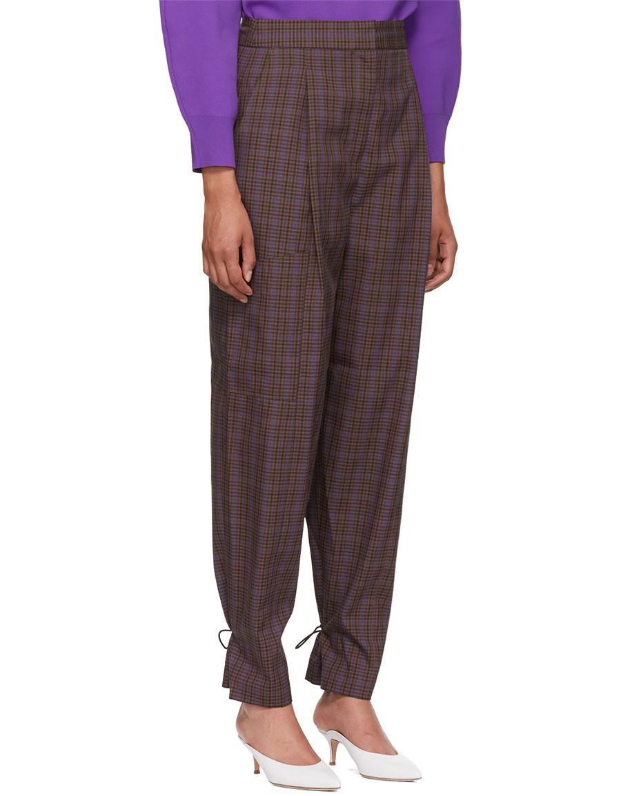 TIBI Multicolor Check Cargo Trousers