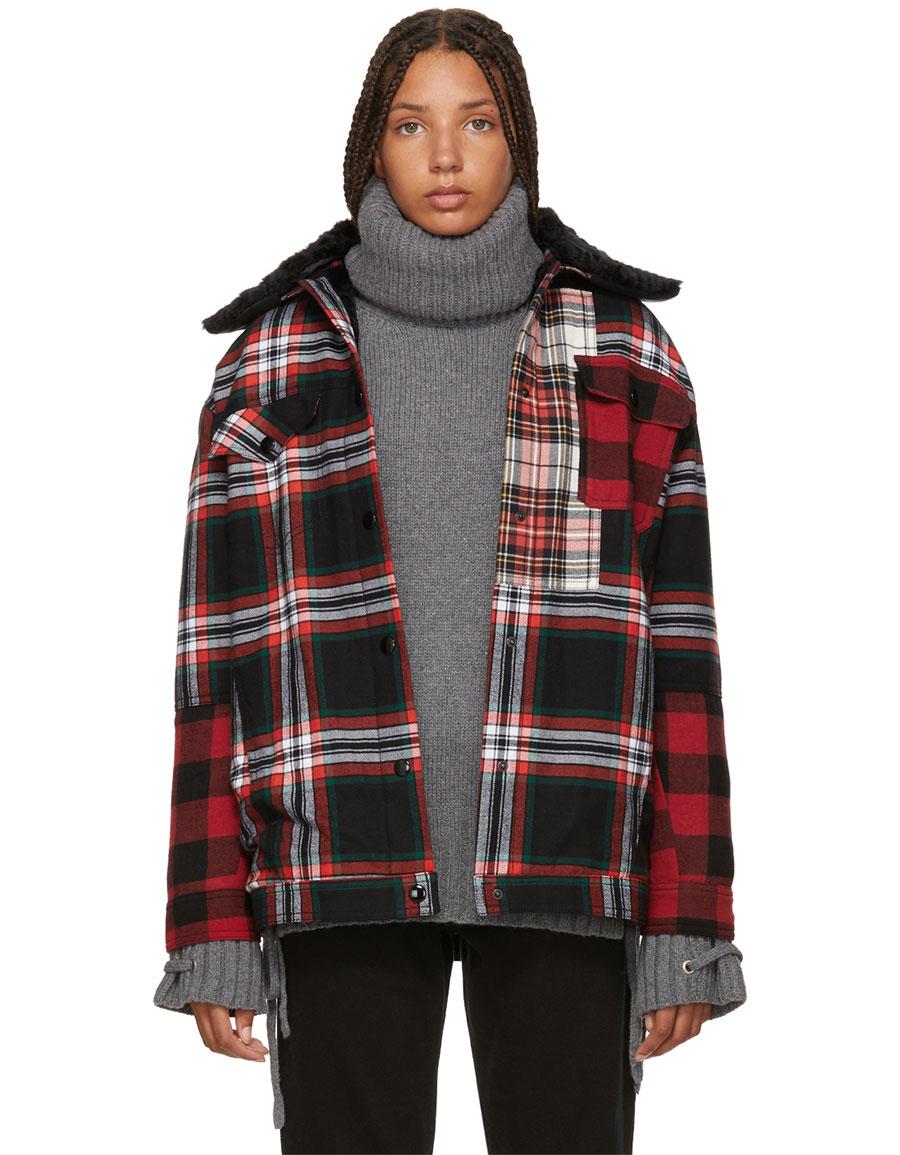 ALEXANDER MCQUEEN Red & Black Tartan Boxy Jacket