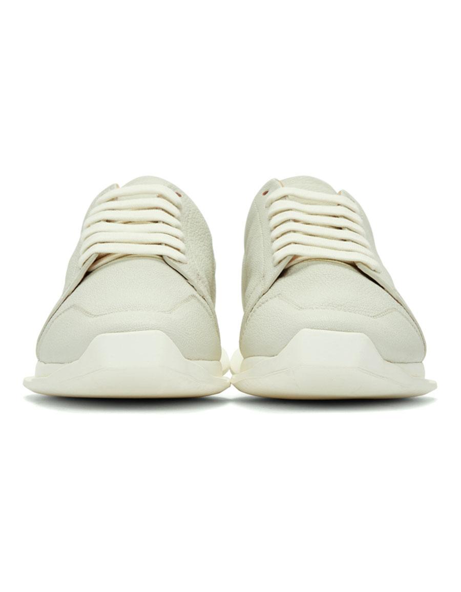 RICK OWENS White Oblique Sneakers