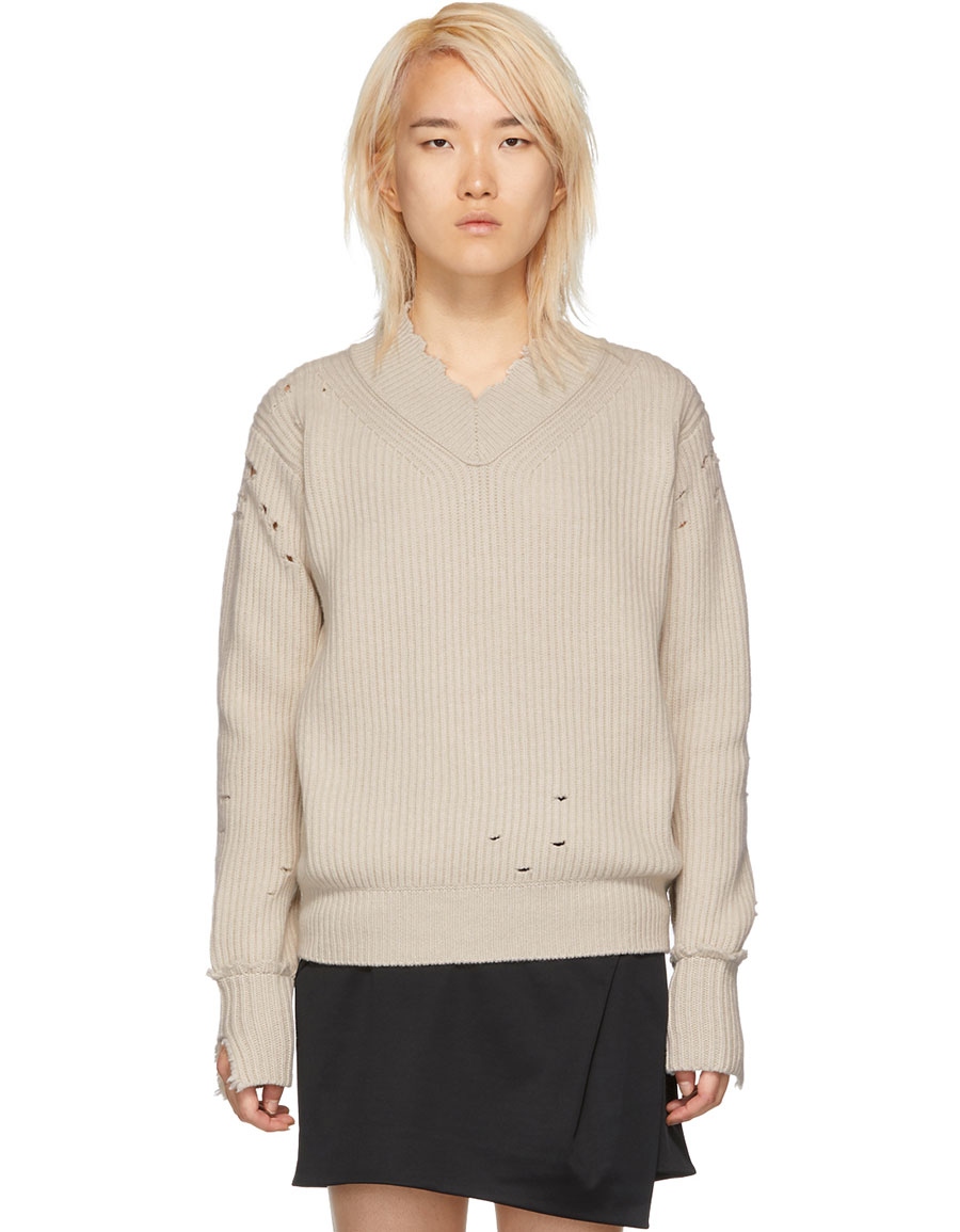 HELMUT LANG White Distressed Lambswool V Neck Sweater
