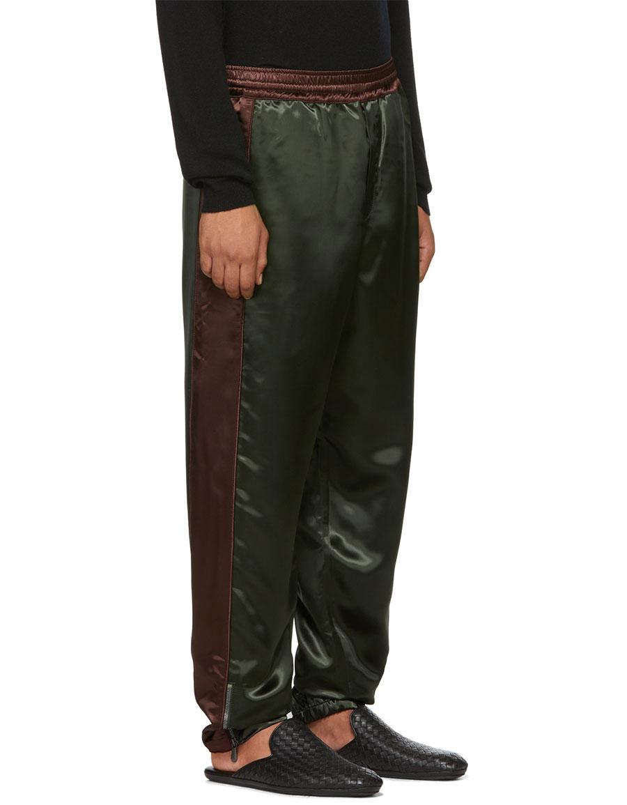 BOTTEGA VENETA Green & Burgundy Heavy Shiny Lounge Pants
