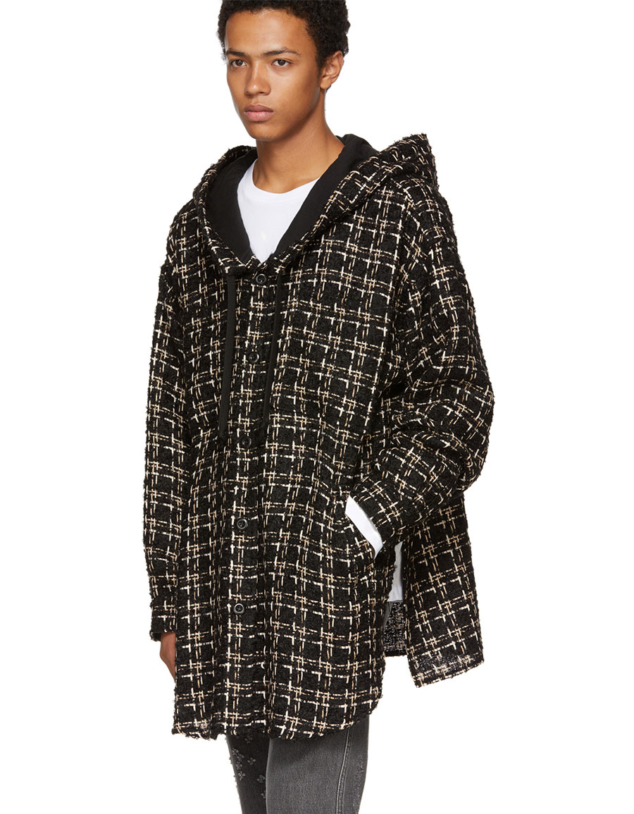 FAITH CONNEXION Black Tweed Hooded Over Shirt