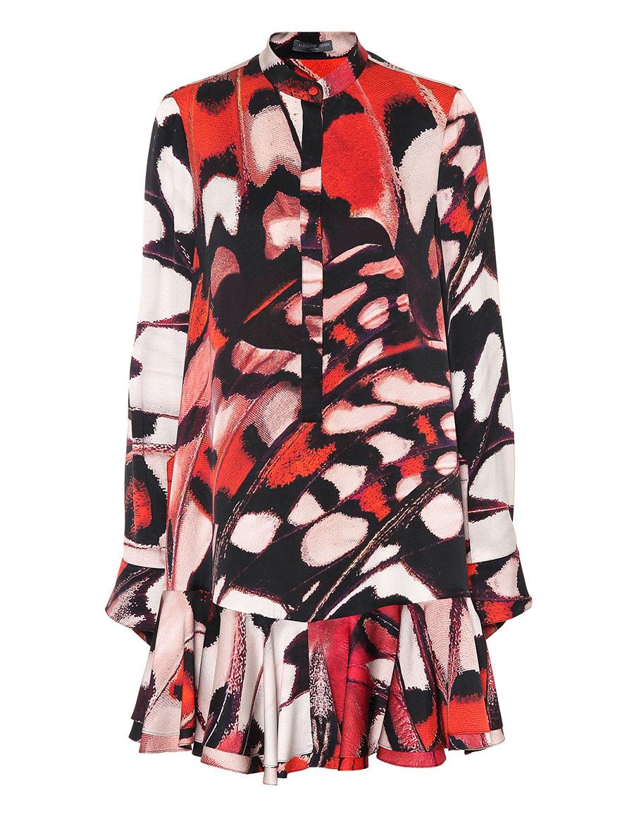 ALEXANDER MCQUEEN Butterfly printed silk satin dress