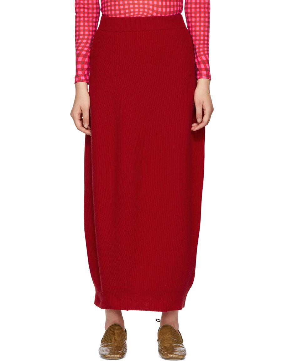 JIL SANDER Red Ribbed Skirt