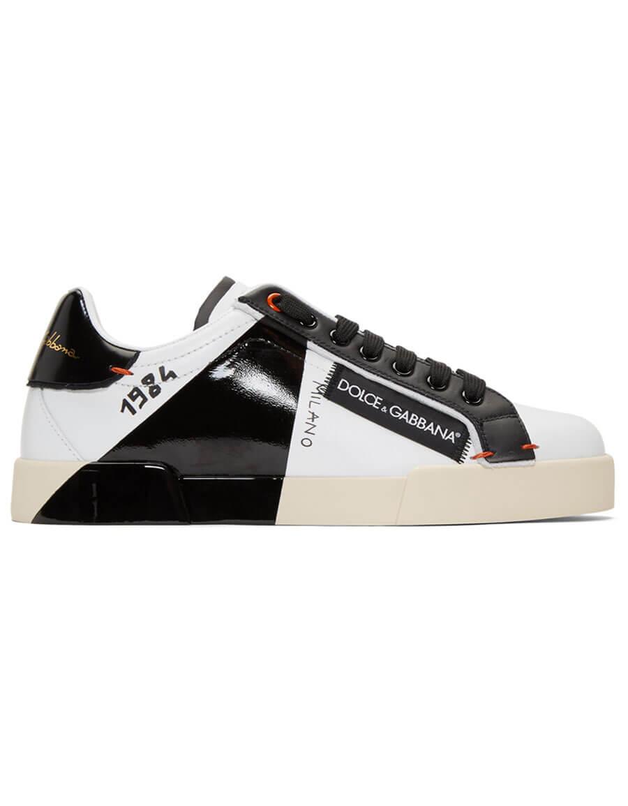 DOLCE & GABBANA Black & White 1984 Portofino Sneakers