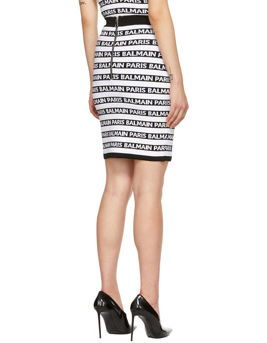 BALMAIN Black & White All Over Logo Skirt