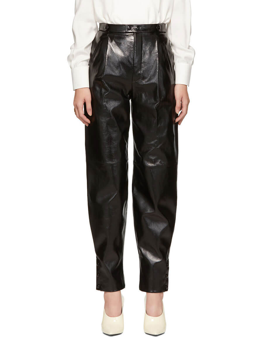 GIVENCHY Black Leather High Waisted Trousers