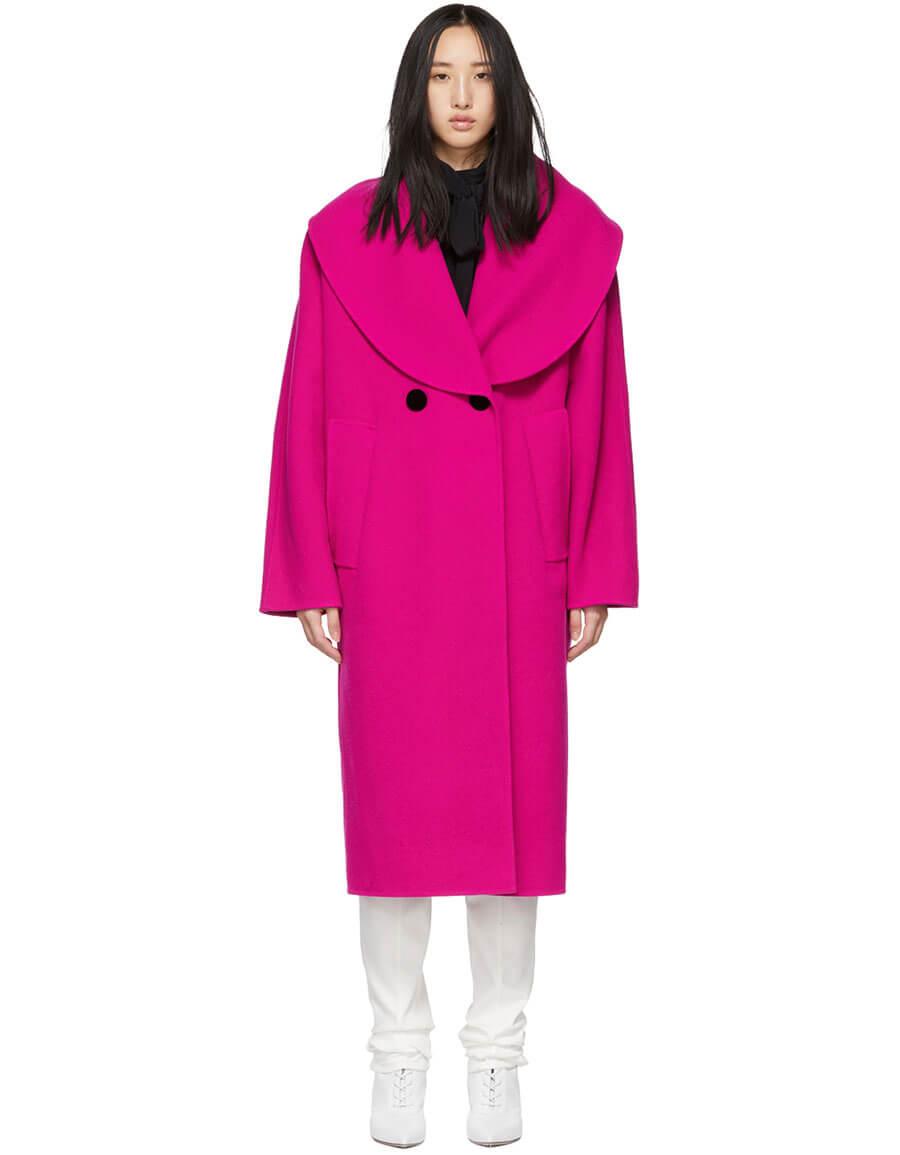 MARC JACOBS Pink Wool Shawl Collar Coat