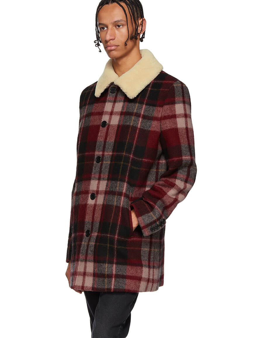 SAINT LAURENT Red Check Shearling Coat