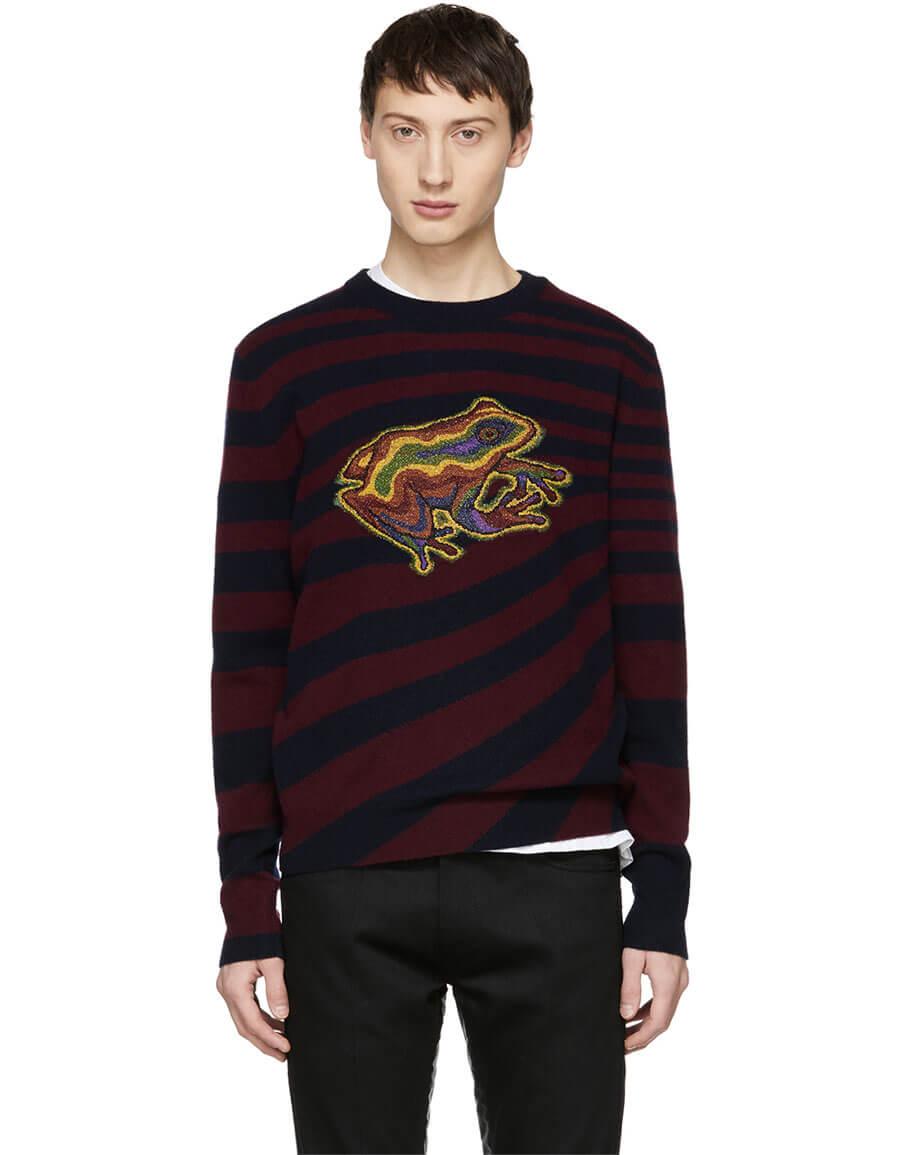 PAUL SMITH Burgundy & Navy Wool Frog Sweater