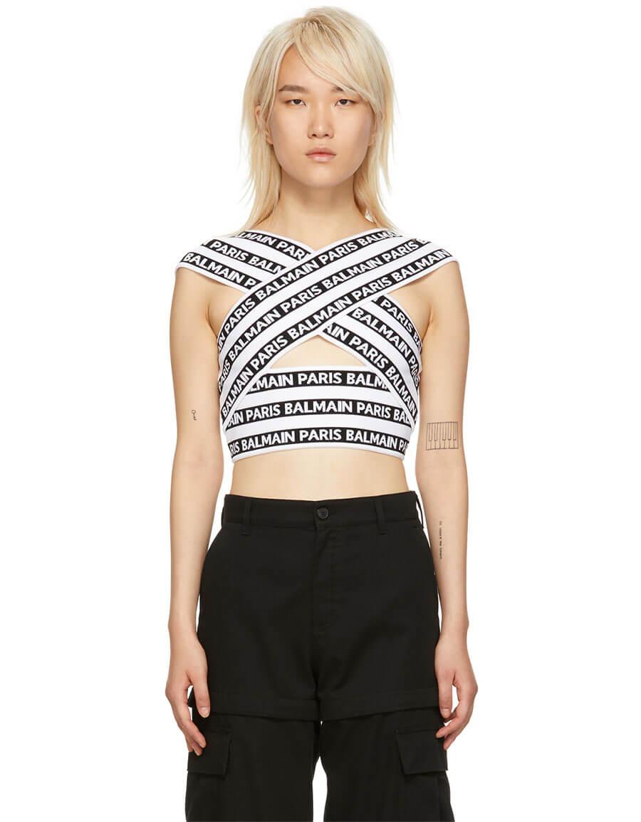 BALMAIN Black & White Wrap All Over Logo Tank Top