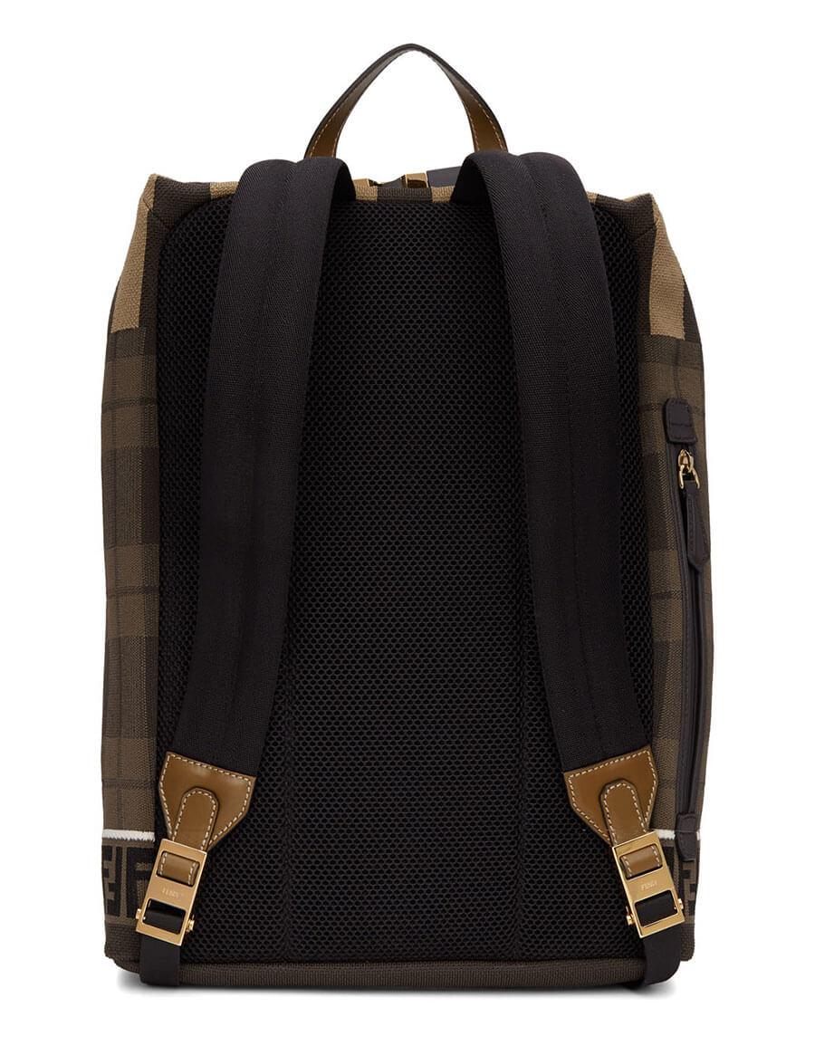 FENDI Brown Tech Knit Tartan 'Forever Fendi' Backpack