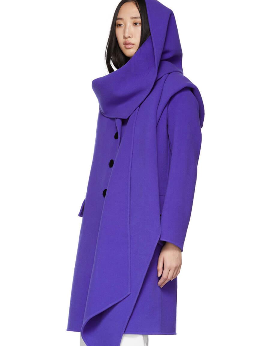 MARC JACOBS Purple Wool Notch Collar Coat