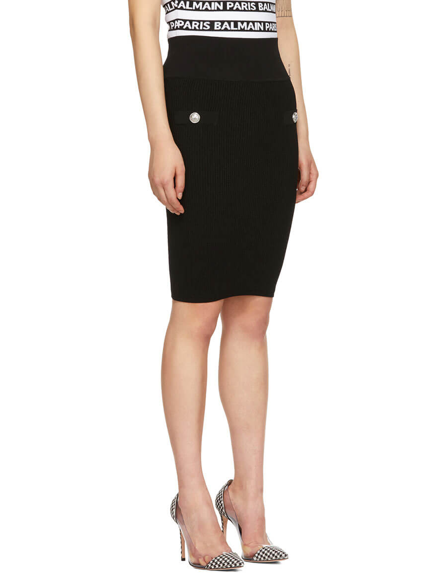 BALMAIN Black Double Button Tube Skirt