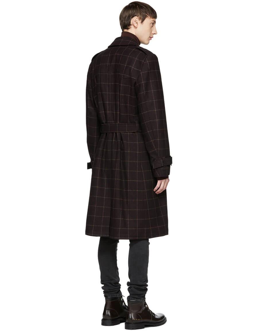NUDIE JEANS Burgundy Check Lennart Coat