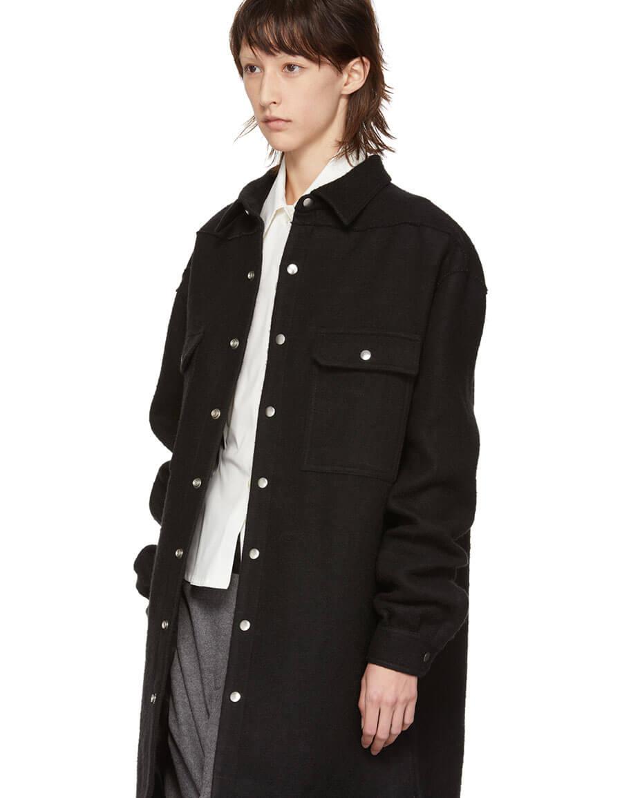 RICK OWENS Black Oversized Outershirt Jacket