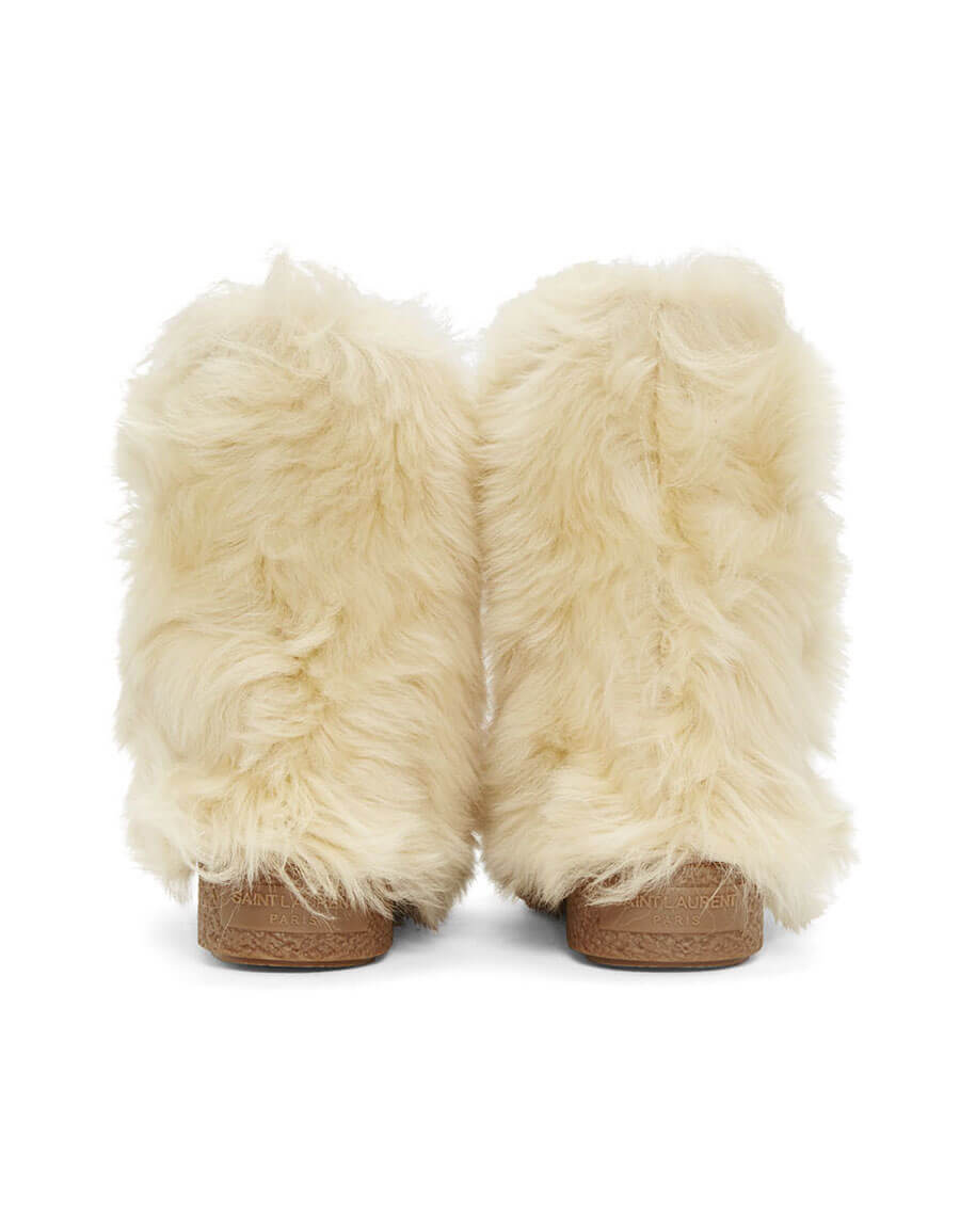 SAINT LAURENT Beige Furry Boots