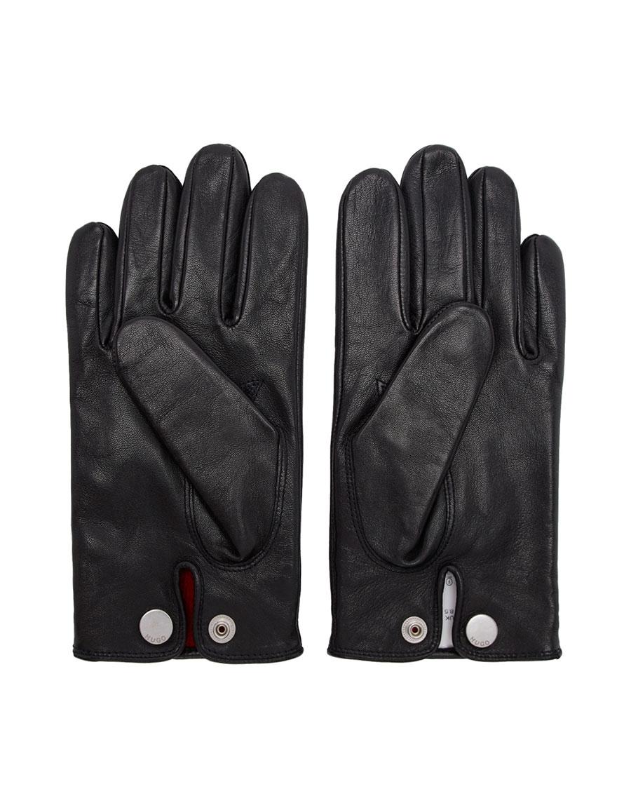 HUGO Black Leather Gloves