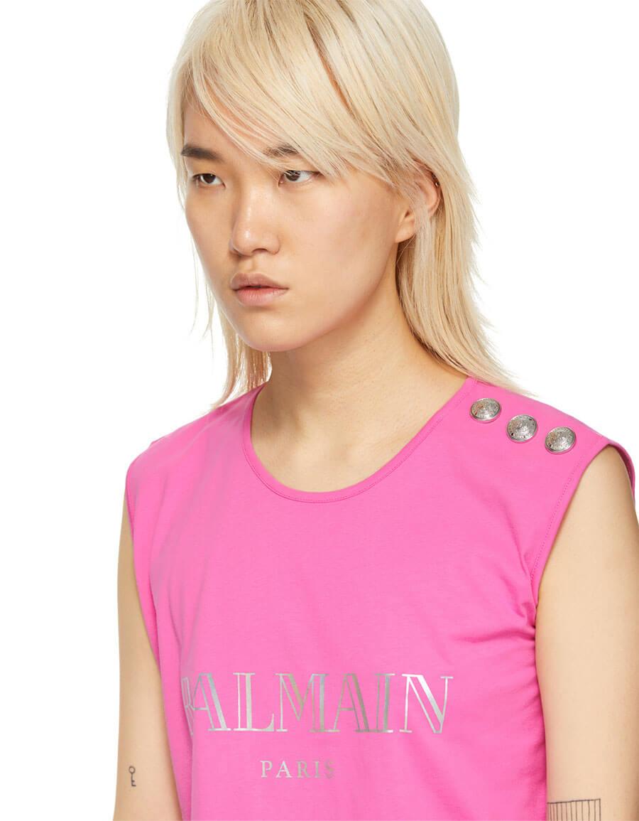 BALMAIN Pink Logo Tank Top