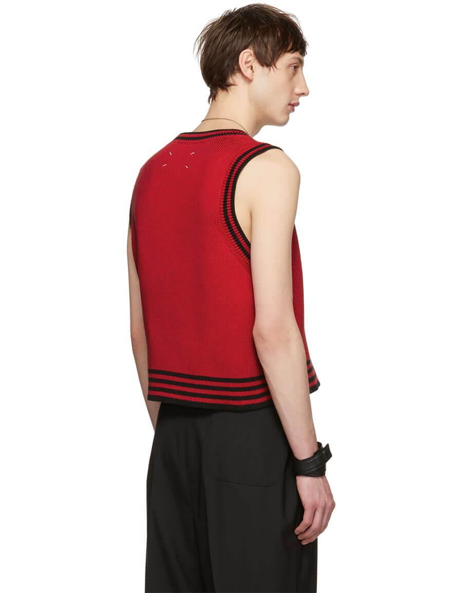 MAISON MARGIELA Red & Black Sleeveless V Neck Pullover