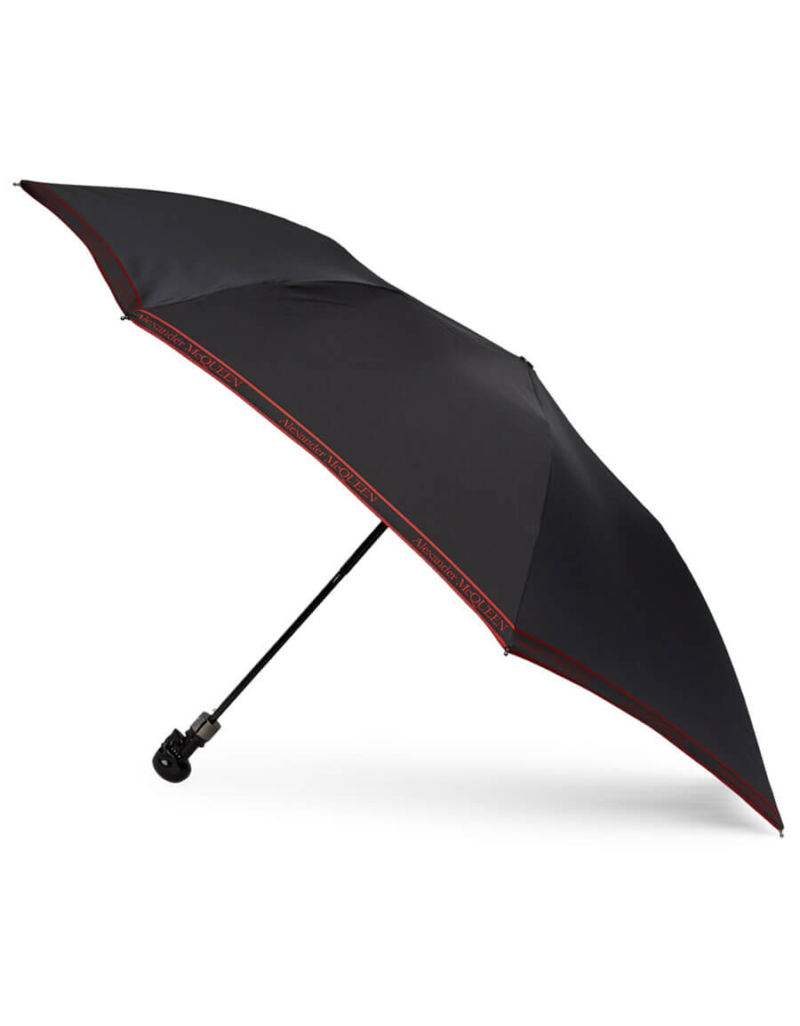 ALEXANDER MCQUEEN Black & Red Selvedge Skull Umbrella